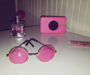 lipstick, pink, and polaroid image