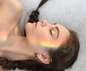 beauty, rainbow, and girl image