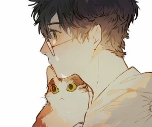 cat, anime, and glasses image