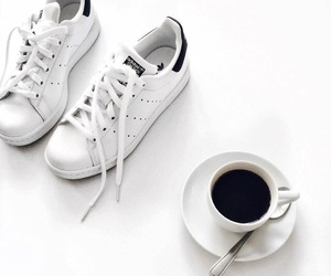coffee, adidas, and shoes image