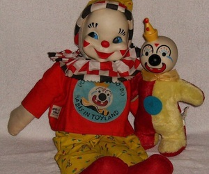 clowns, doll, and weird image