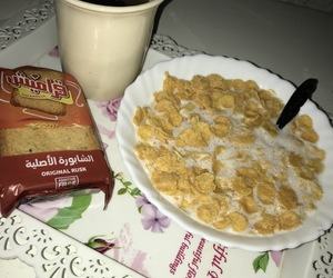 cornflakes, toasts, and blacktea image