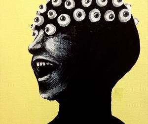 art, black, and laughing image