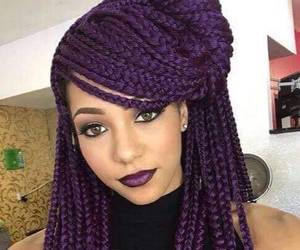 purple, braids, and hair image