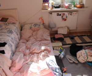 room, pink, and bed image