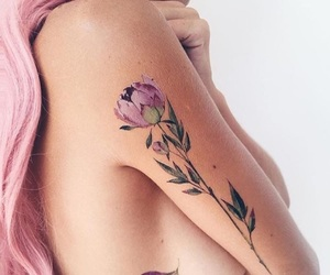 flower, girl, and pink image