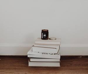 books, candle, and relax chill image