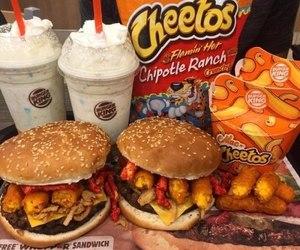 food, cheetos, and burger image
