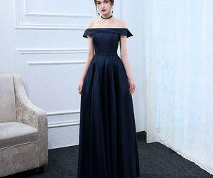 evening dress, girls, and navy blue image