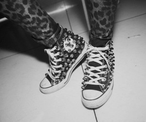 black and white, fashion, and converse image