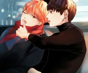 bts, jikook, and fanart image