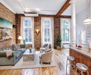 apartment, brick wall, and decoration image
