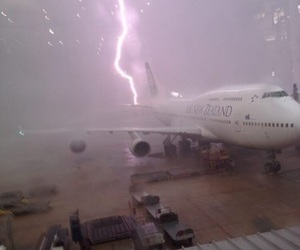 lightning, plane, and grunge image
