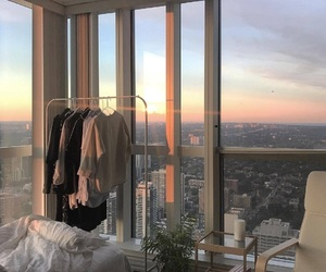city, room, and sunset image