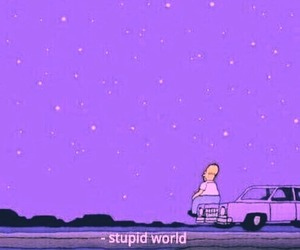 stupid world, purple, and sad image