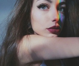 girl, rainbow, and beauty image