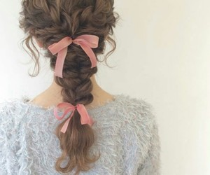 braid, hairstyle, and ribbon image