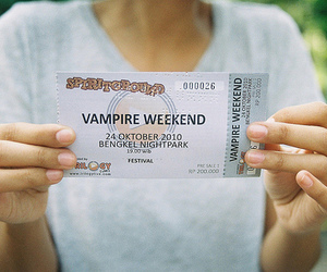 vampire weekend, photography, and ticket image