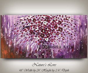 etsy, flower painting, and purple art image