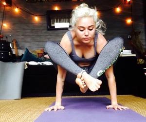 miley cyrus, yoga, and cyrus image