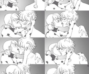 ladybug, Chat Noir, and kiss image