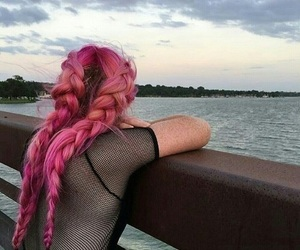 girl, pink, and braid image