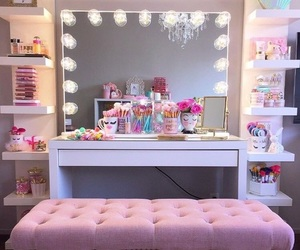 pink, room, and makeup image