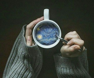 art, coffee, and van gogh image