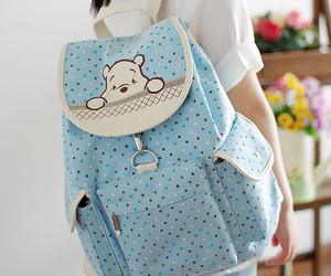 backpack, bear, and blue image