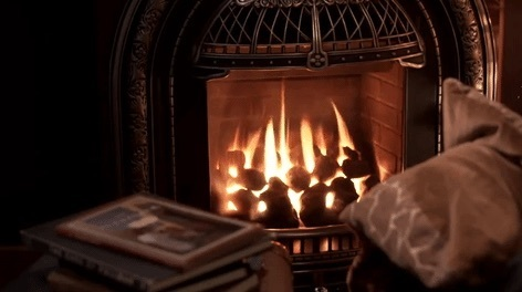 gif, fireplace, and books image