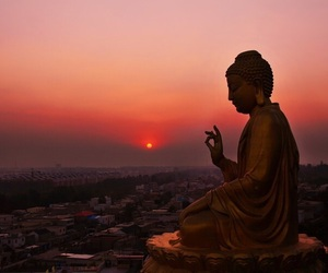 sunset, sun, and Buddha image