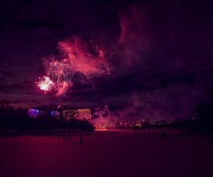 fireworks, pink, and night image