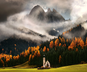 autumn, mountains, and church image