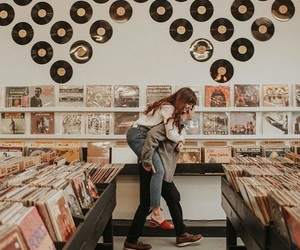 music, couple, and record image