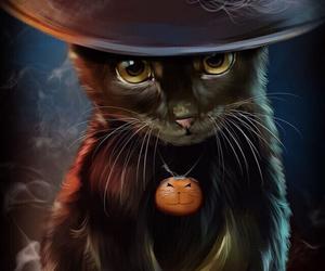 black, kitten, and Halloween image