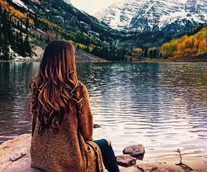 autumn, fashion, and lake image