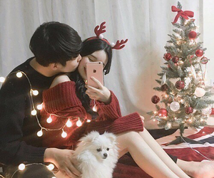 couple, ulzzang, and christmas image
