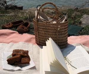 book, lake, and picnic image