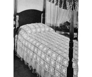 bedspread, spread, and water lilies image