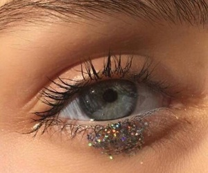 eye, glitter, and blue image