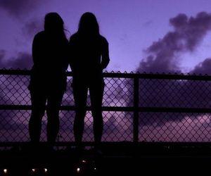 girl, sky, and purple image