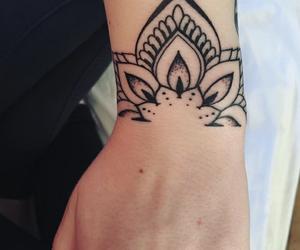 black and white, hand, and tattoo image