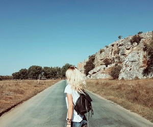 girl, nature, and travelling image
