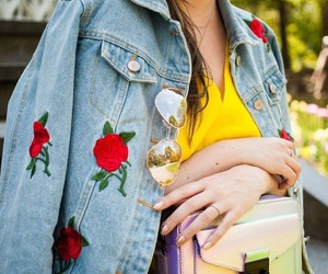 denim, floral, and floral print image