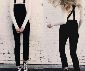 fashion, outfit, and overalls image