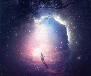 child, forest, and galaxy image