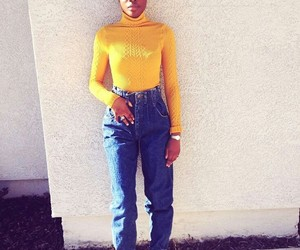 mustard yellow, cute bun, and mom jeans image