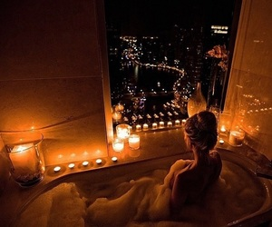 girl, candle, and city image
