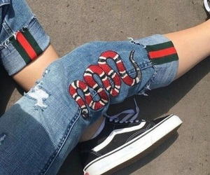 gucci, jeans, and vans image