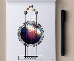 art, guitar, and drawing image